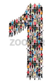 Zahl Ziffer 1 eins Leute Menschen People Gruppe Menschengruppe