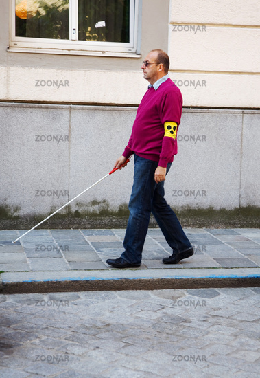 Blind man with stick