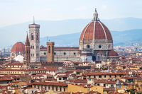 above view of Duomo Cathedral in Florence town