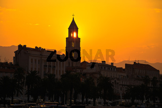 City of Split Riva at sunrise
