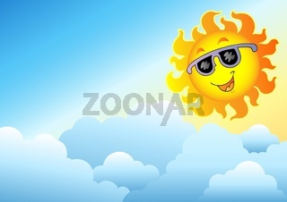 Cloudy sky with cartoon Sun - color illustration.