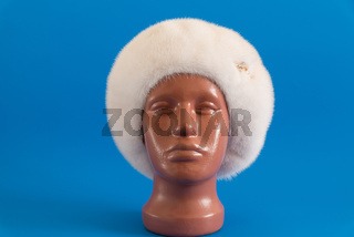pearly beret from natural mink on mannequin.