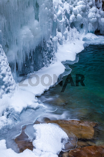 Ice and water in Johnston Canyon, Banff National Park, Alberta Canada