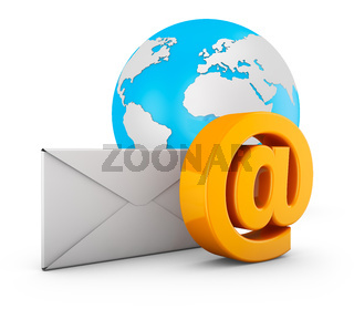 e-mail  envelope and a globe