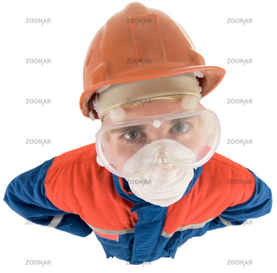 Laborer on the helmet and respirator
