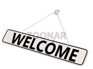 Welcome banner isolated on white