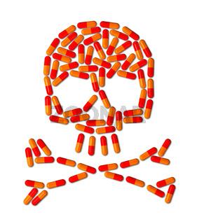 Skull made of capsule pills
