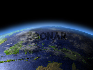 Papua from space on early morning