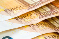 Close-up of fifty Euro banknotes