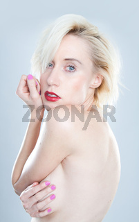 young Beautiful blonde woman topless with violet lips