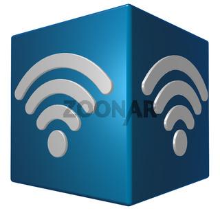 würfel mit wlan-symbol - 3d rendering