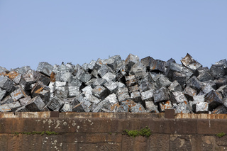 Scrap metal, Duisport inland port, Duisburg, Germany