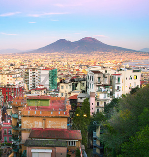 Naples at sunset, Italy