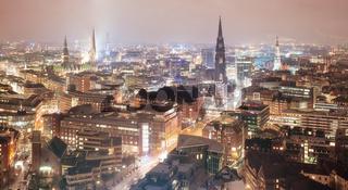Skyline of Hamburg, Germany, at night