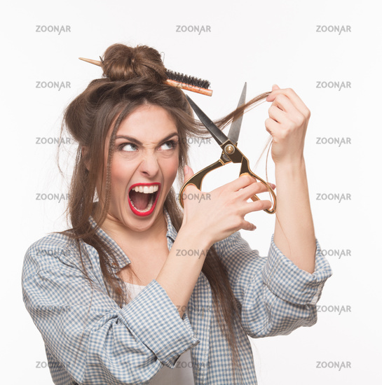 Woman doing hairstyle in studio