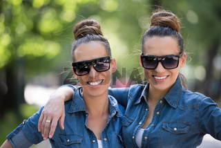 twin sister with sunglasses
