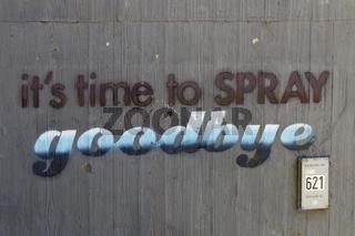 Wall with graffiti in Loerrach, motorway bridge pier A98 in July 2016 – It's time to spray goodbye