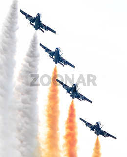LEEUWARDEN, THE NETHERLANDS-JUNE 10, 2016: Italian aerobatic team Frecce Tricolori (Tricolor arrows) performs a show at the Dutch Airshow on June 10, 2016 at Leeuwarden Airfield, The Netherlands.