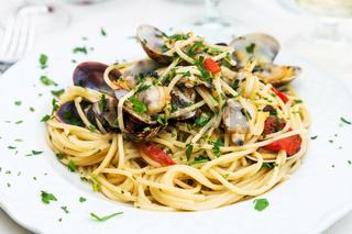 spagetti with vongole in sicilian restaurant