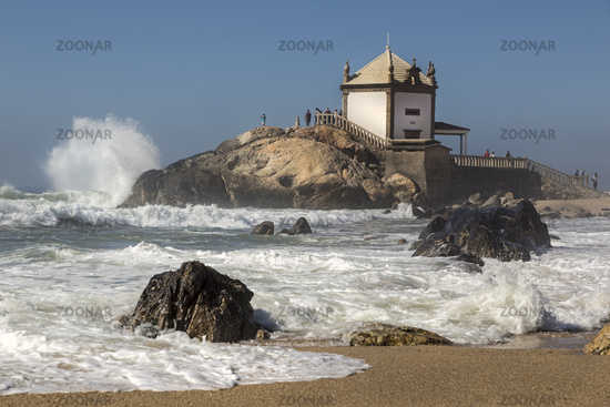 Capela do Senhor da Pedra with storm, Portugal, Europe