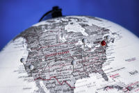 Globe with the USA in focus