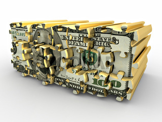 Puzzle from dollar on white isolated background. 3d