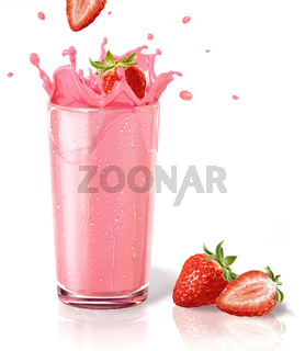 Strawberries splashing into a milkshake glass, with two others on the floor.