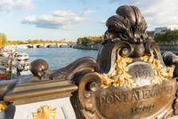 Alexandre the third bridge in Paris, above the river Seine with boats