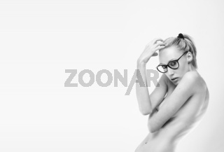 topless fashion model with a crazy glasses