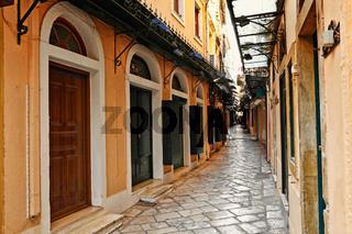 The alleyways in Corfu, Greece