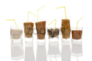 Various grains and seeds for making vegan milk