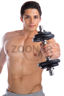 Training Bodybuilder Bodybuilding Muskeln Hantel Mann stark Kraft muskulös jung Freisteller