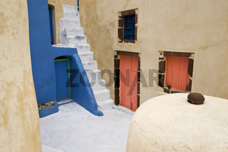 colored house corner on Santorini