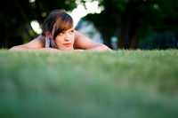 young woman on lawn
