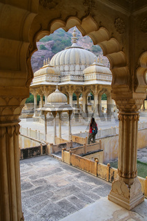 Framed view of Royal cenotaphs in Jaipur, Rajasthan, India