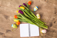 Easter decoration and blank notebook