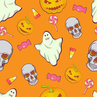 Halloween seamless bright kids cartoon pattern. Skull, ghost, candy and pumpkin.