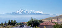 Volcano Erciyes from a distance with a fog bank underneath the summit, Anatolia, Turkey