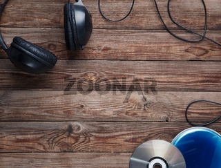 top view of music cd player equipment on wooden desk