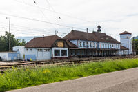 Exterior view of the main railway station in Ruzomberok
