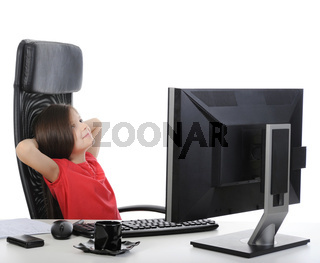 girl in the office in front of computer