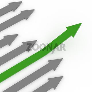 Green rising arrow on white