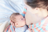 Feeding a baby in the bedroom