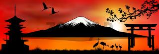 Mount Fuji at sunset 1