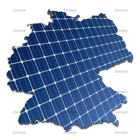 Monocrystalline solar cells in abstract map of Germany