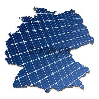 Monokristalline Solarzellen in abstrakter Deutschlandkarte