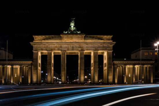 Brandenburg Gate at Night in Berlin, Capital of Germany