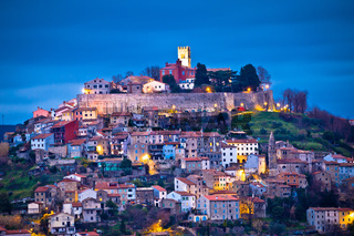 Town of Motovun on Istrian hill dawn view