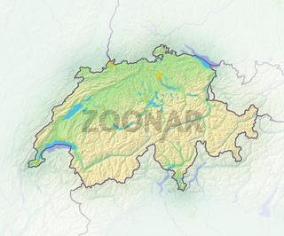 Schweiz , Reliefkarte.
