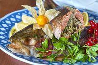 Fried stuffed fish on a platter festive menu
